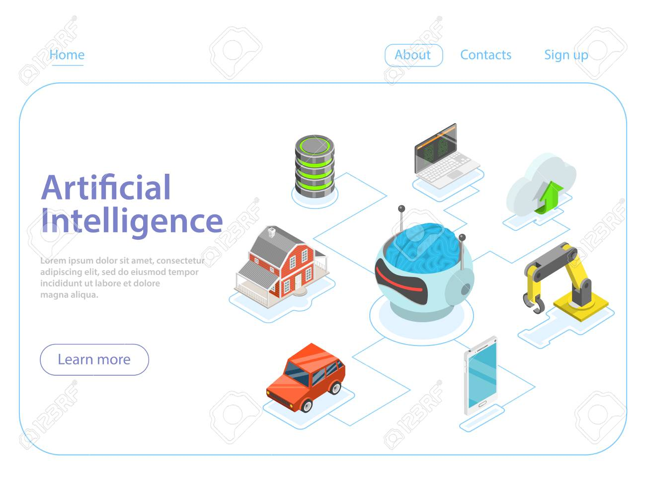Artificial intelligence flat isometric vector concept. - 102400663