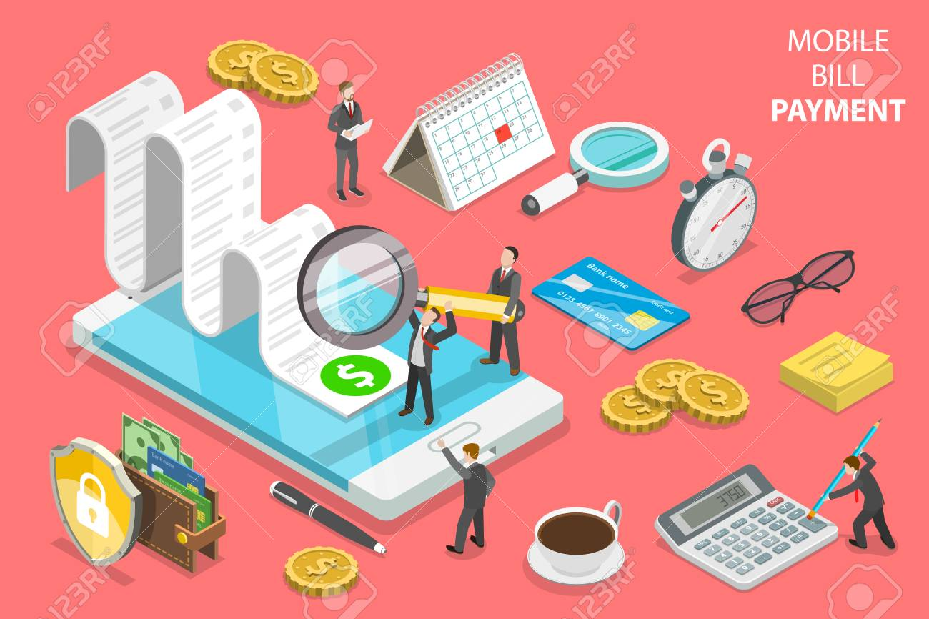 Online bill payment flat isometric vector concept - 109129809