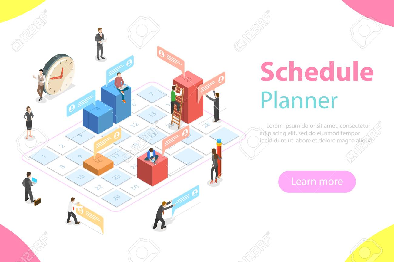 Flat isometric vector concept of business planning, schedule, meeting appointment, agenda, important date - 104202373