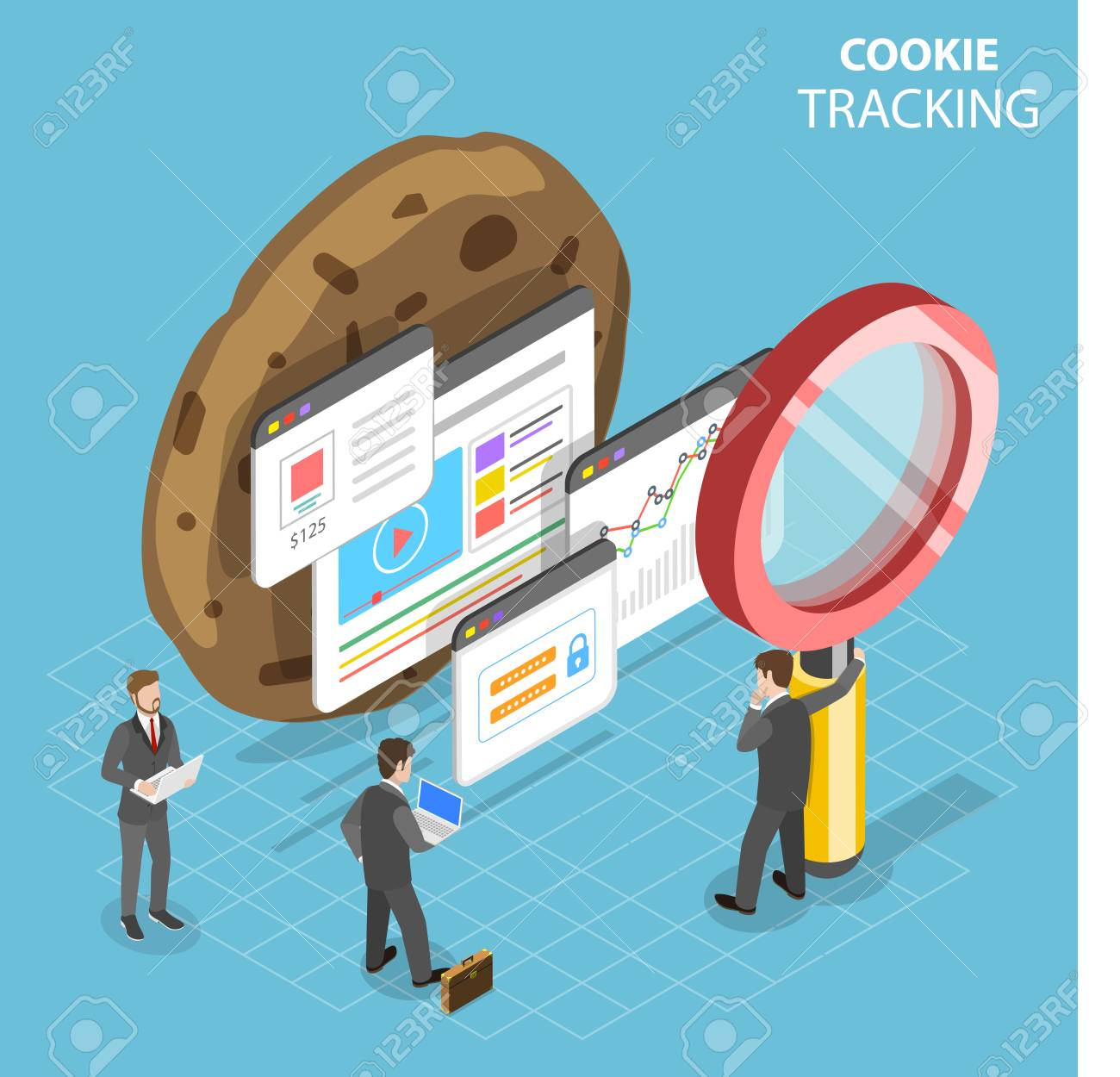 Web cookie tracking flat isometric vector concept. - 104993079