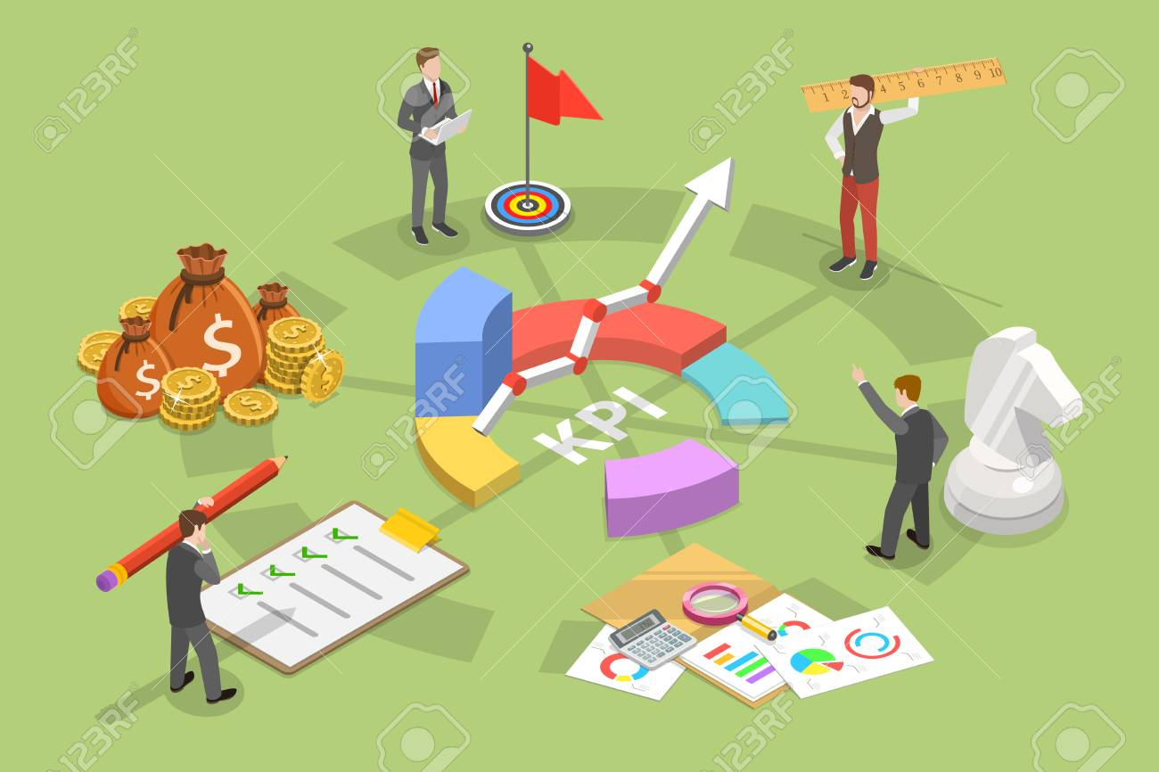 Key performance indicator flat isometric vector concept. Renders major KPI points as following objective, measurement, optimization, strategy, performance, evaluation. - 110273104
