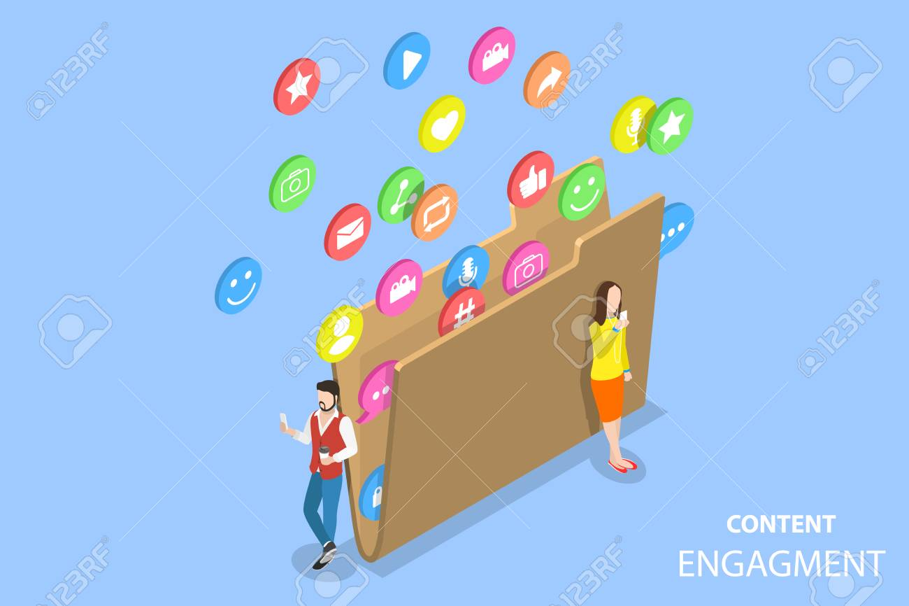 Isometric flat vector concept of customer engagement strategy, engaging content marketing, blogging and vlogging, social media sharing. - 110273105