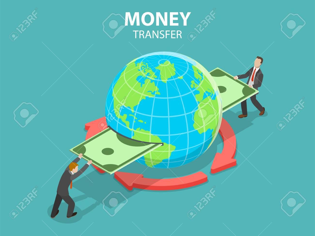 Isometric flat vector concept of international money transfer, online banking, financial transaction. - 110153732