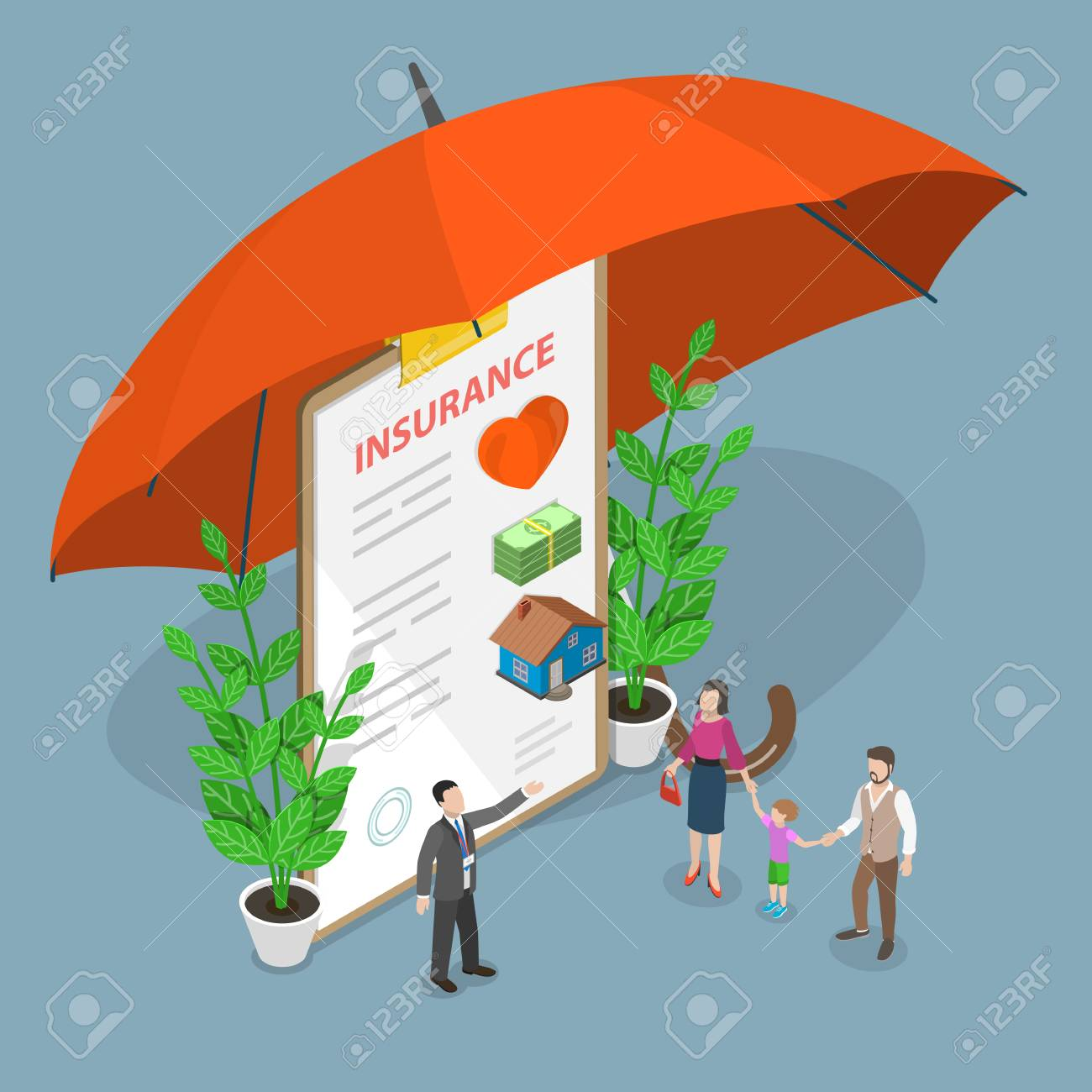 Insurance options isometric flat vector concept. - 109885009