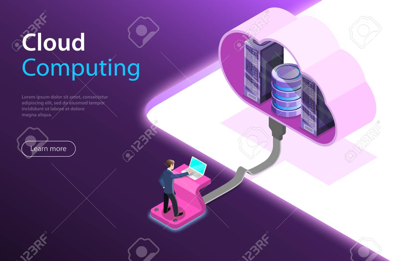 Isometric flat vector concept of cloud computing technology, data storage and hostiung, big data. - 109685472