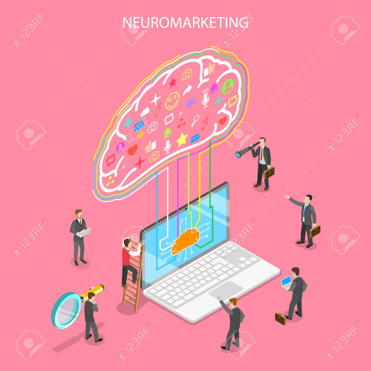 Isometric flat vector concept of neuromarketing, digital compaign, commercial marketing strategy, ai, artificial intelligence. - 109700821