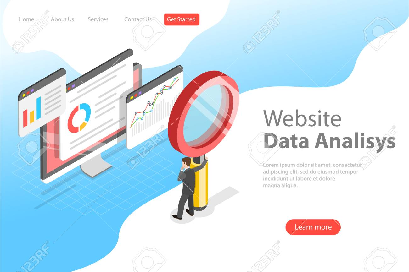 Flat isometric vector landing page template of website data analysis, web analytics, SEO audit report, marketing strategy. - 126714368