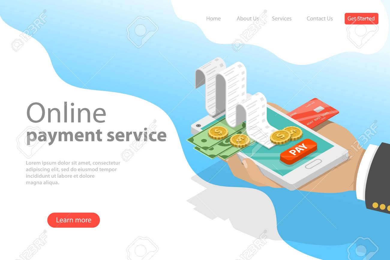 Flat isometric vector landing page template of online payment service. - 115522578