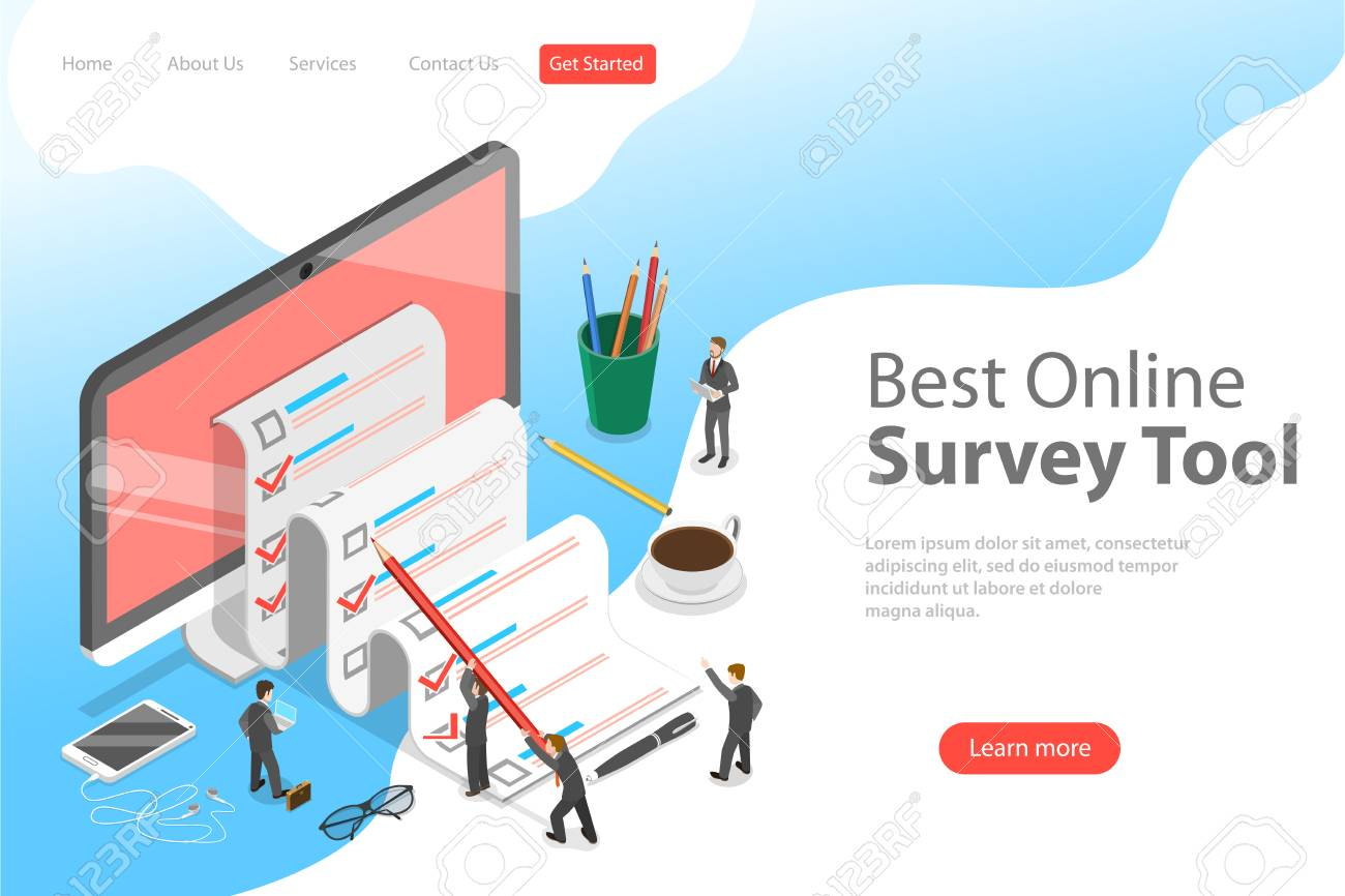 Flat isometric vector landing page template of online survey tool, customer review, feedback service, customer satisfaction. - 126303388