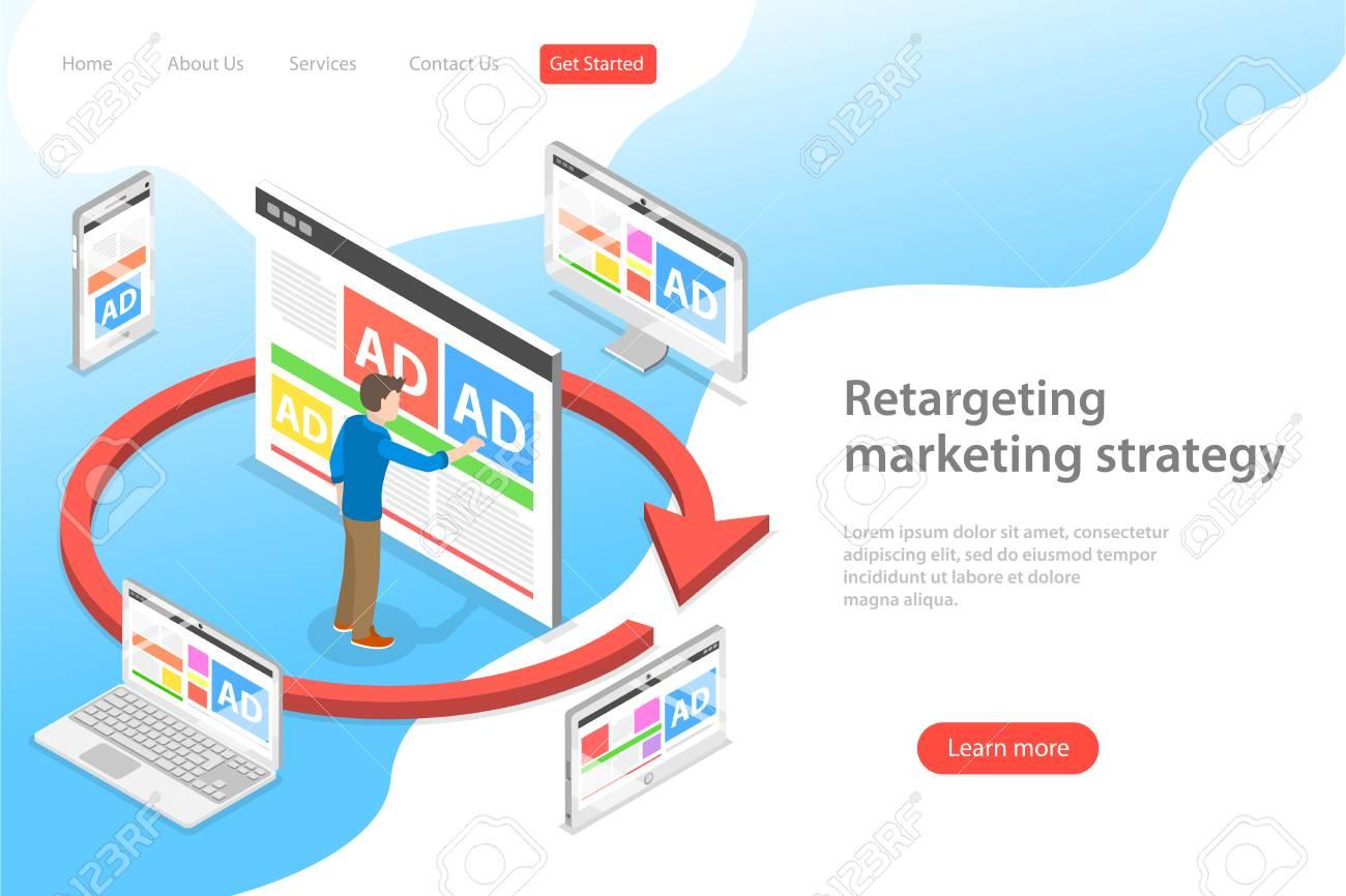 Isometric flat vector landing page template of retargeting marketing stragety, behavioural remarketing, digital promotion campaign. - 115086868