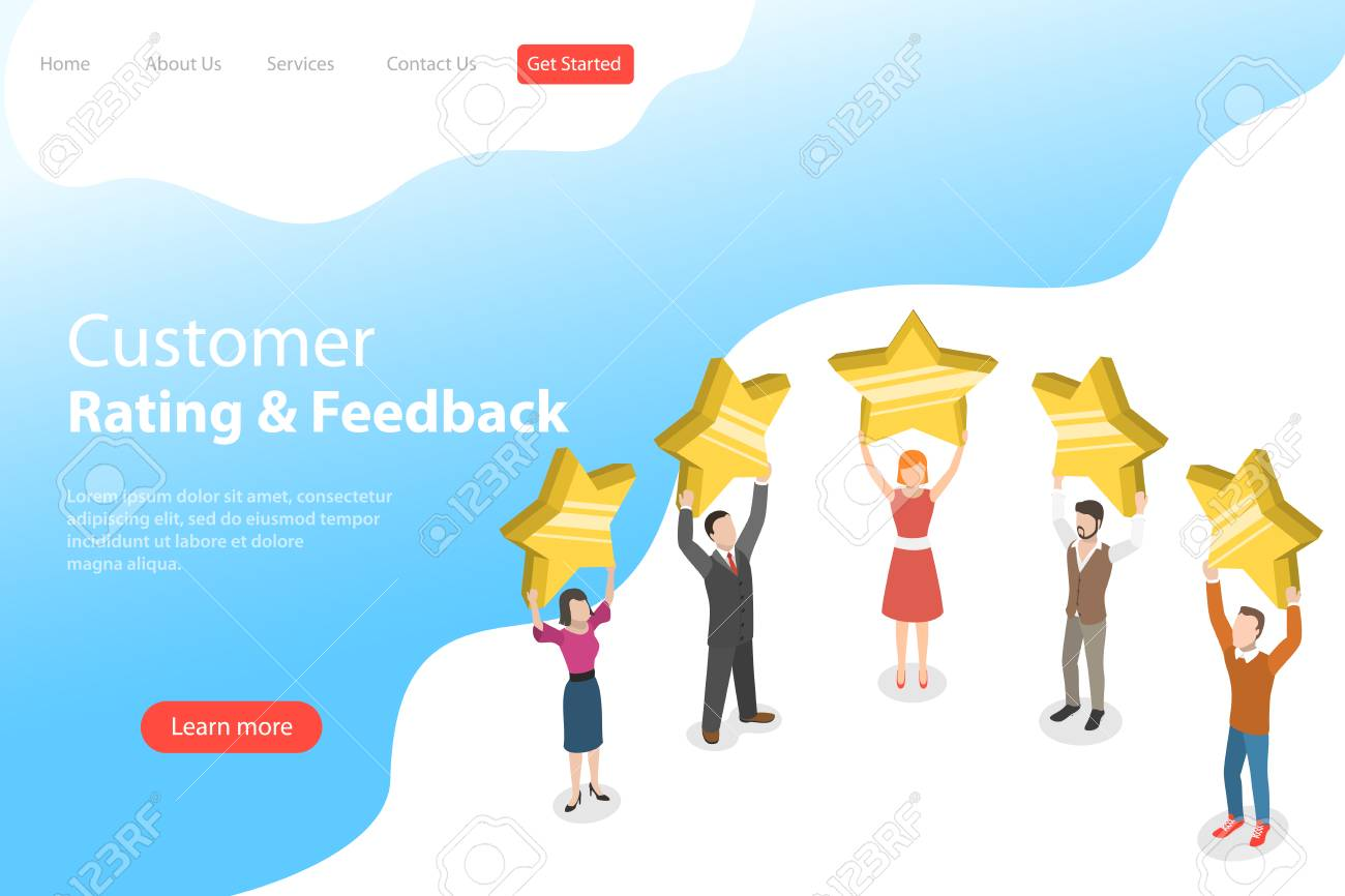 Isometric flat vector landing page template of product rating. - 115522586