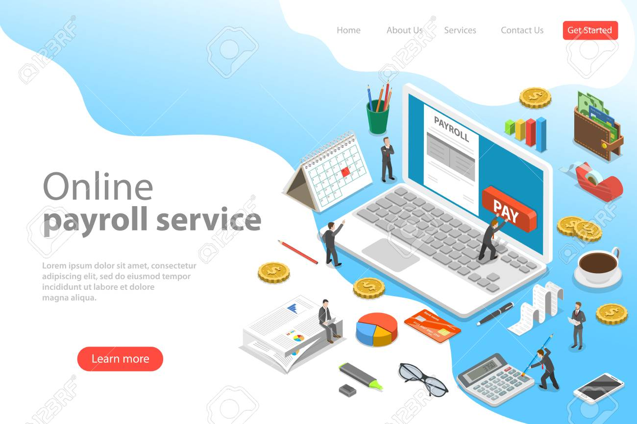 Payroll flat isometric vector landing page template of salary payment, financial calendar, expenses calculator. - 116494601