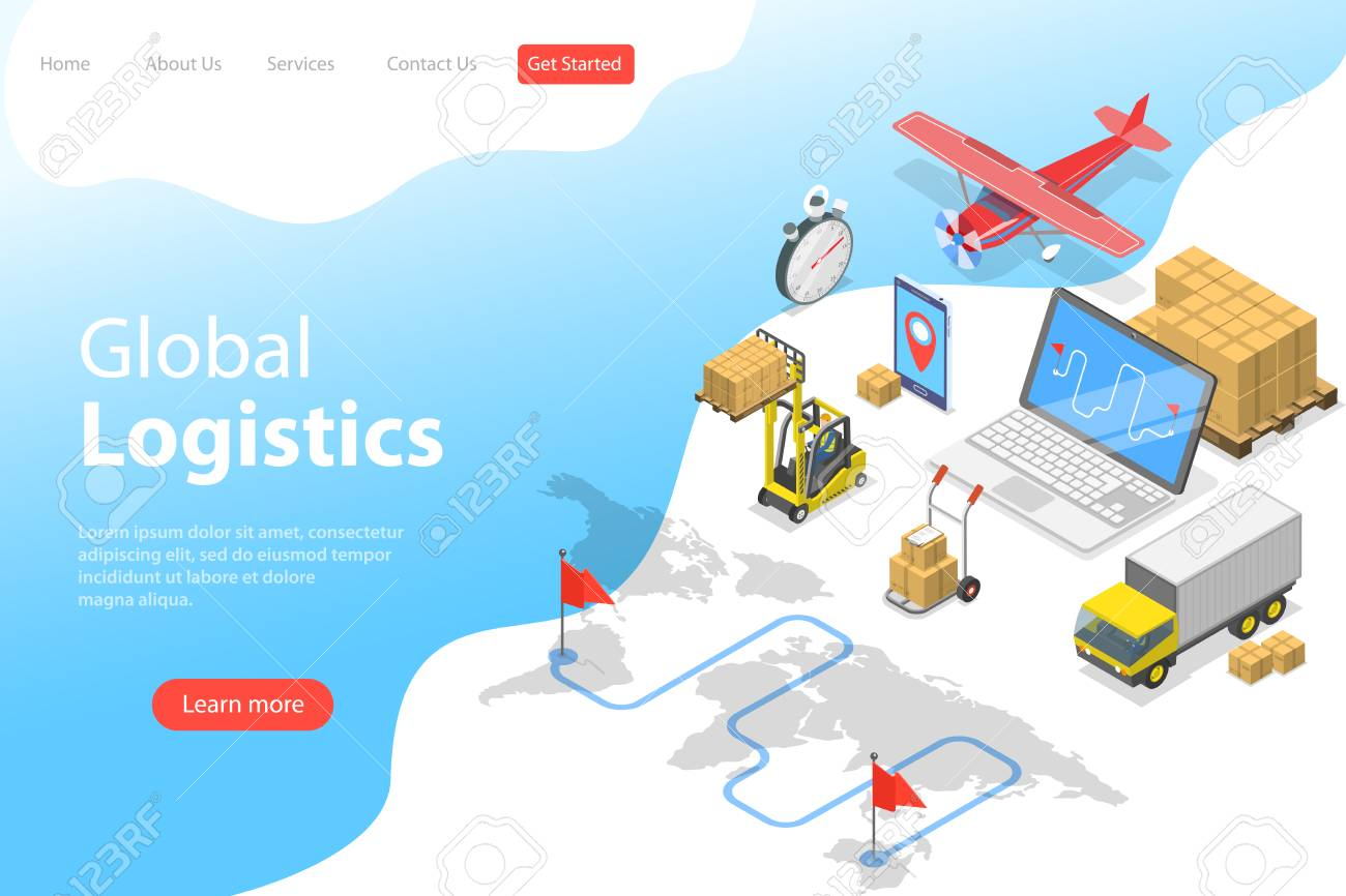 Flat isometric vector landing page template of global logistics, worldwide freight shipping, fast delivery. - 125383600