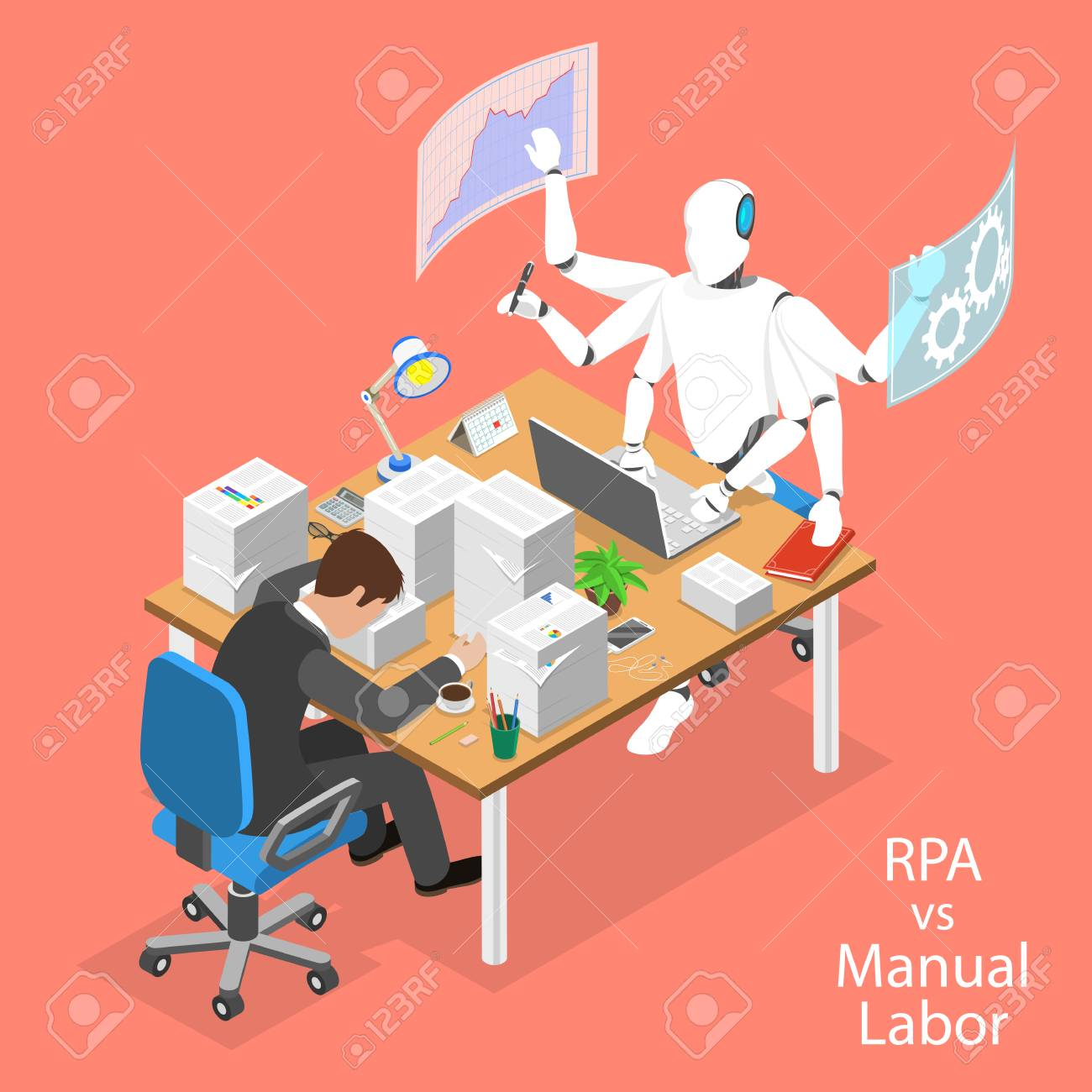 Isometric flat vector concept of RPA vs manual labor. - 122133806