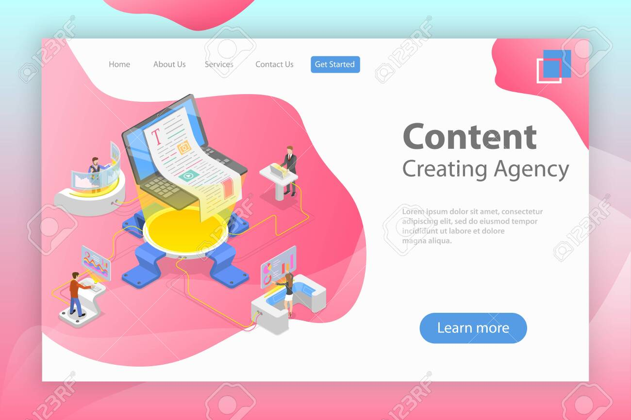 Flat isometric vector landing pate template of content creating, copywriting, creative writing, content marketing. - 123692663