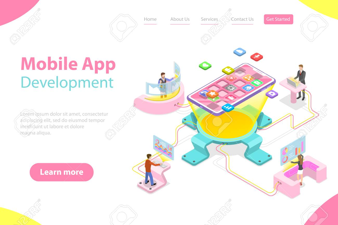 Flat isometric vector landing page template of mobile app development,