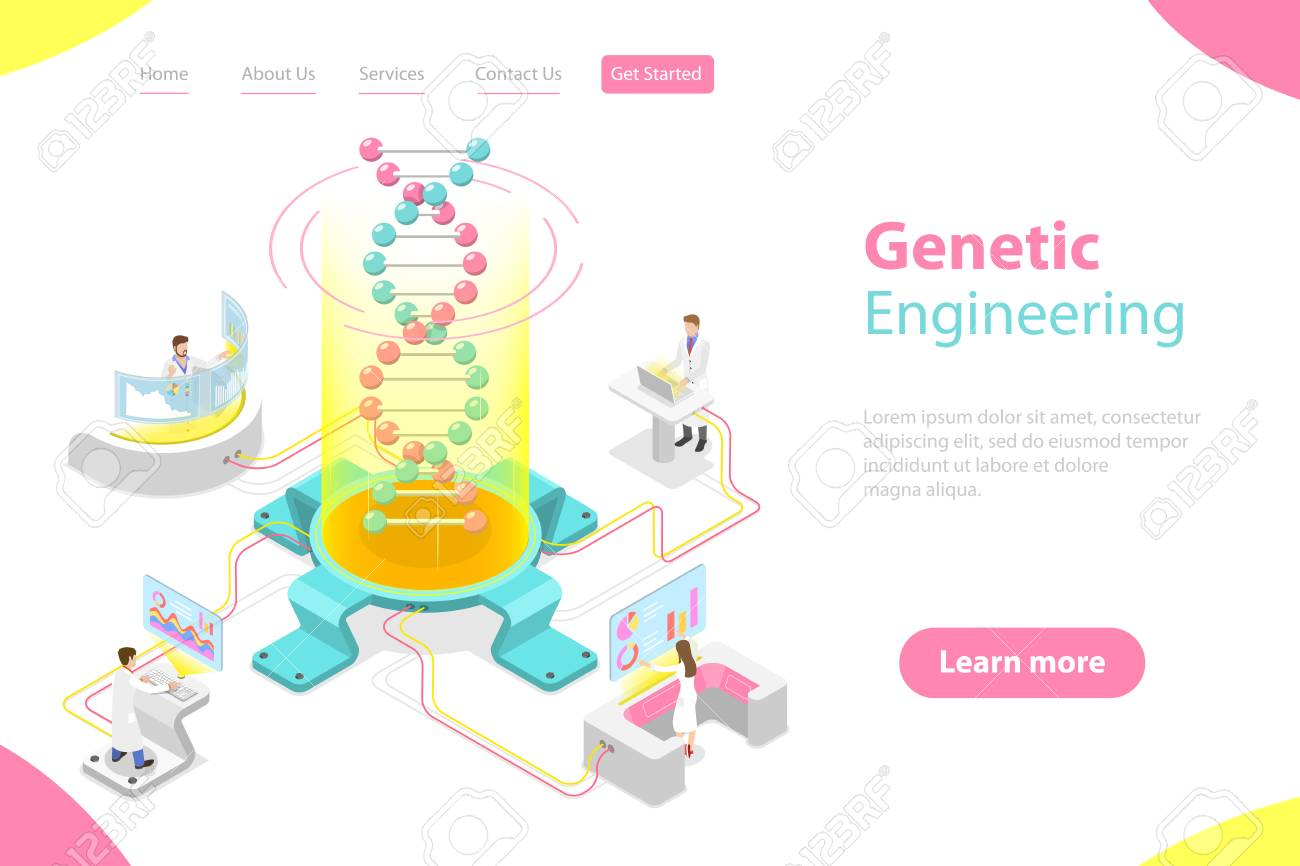 Isometric flat vector concept of genetic engineering, DNA structure changing. - 122133959