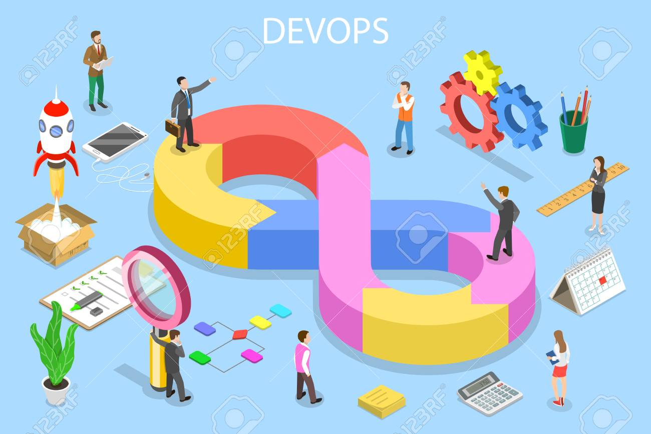 Isometric flat vector concept of DevOps, development and operations, software development, testing and support. - 122913849