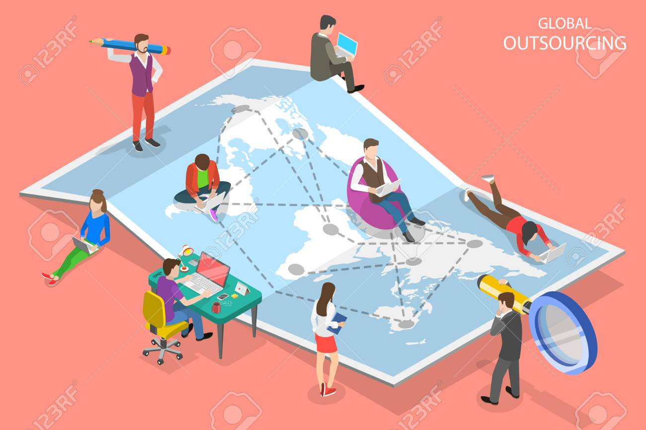 Isometric flat vector concept of global outsourcing, company remote management, distributed team, freelance job. - 127743456