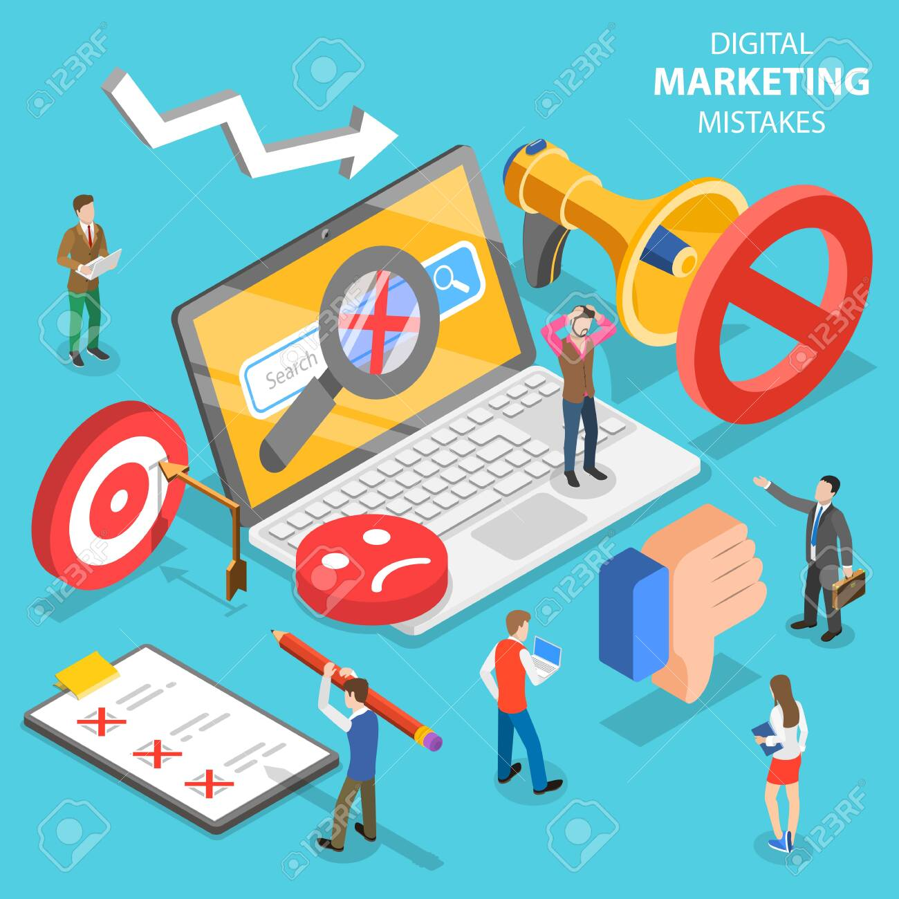 Isometric flat vector concept of digital marketing mistakes, wrong strategy. - 127670848