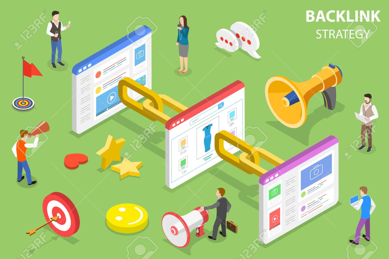 Isometric flat vector concept of backlink strategy, SEO link building, digital marketing campaign. - 127743480