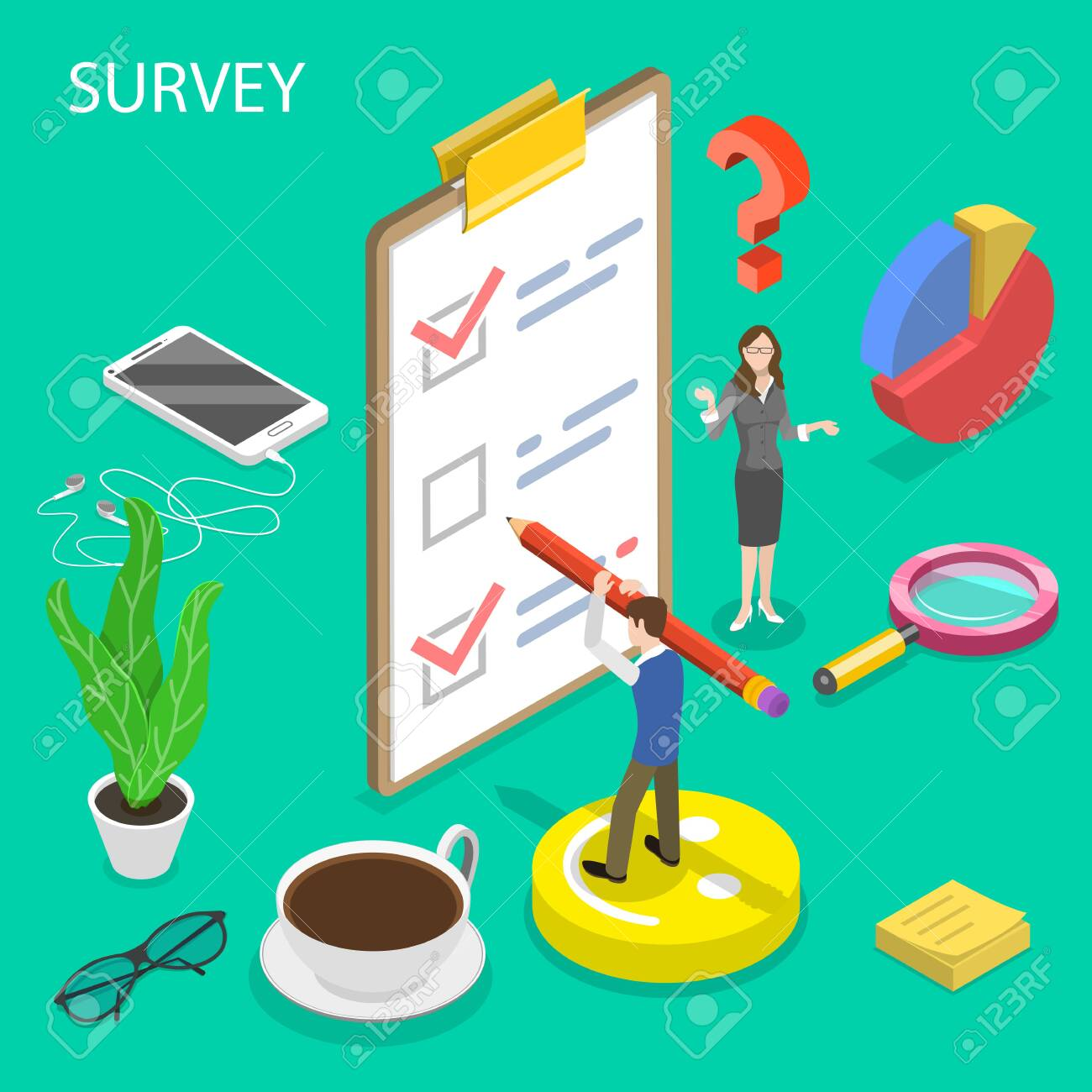 Isometric flat vector concept of survey, customer rating and feedback, quality test, consumer satisfaction research. - 128350994