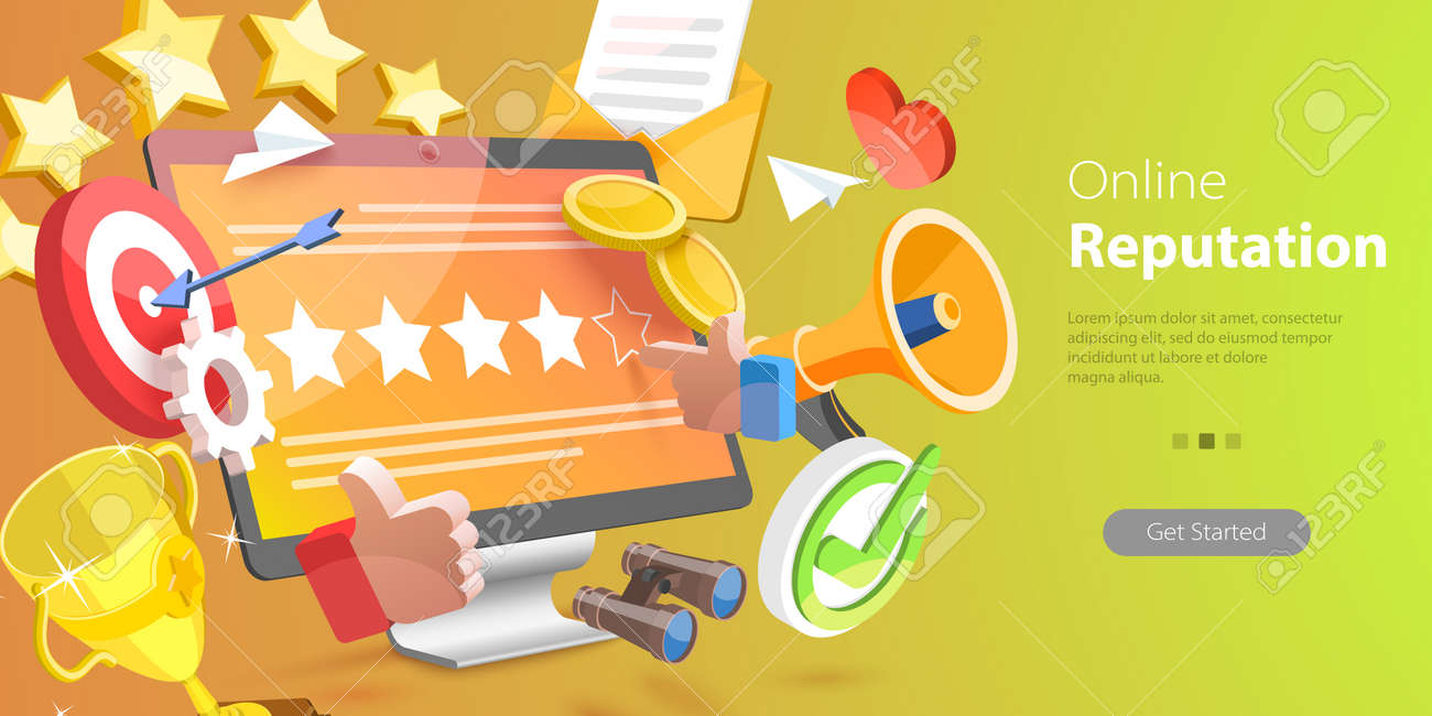 3D Vector Conceptual Illustration of Online Reputation Management, Improving Customer Loyalty Strategy - 169128900