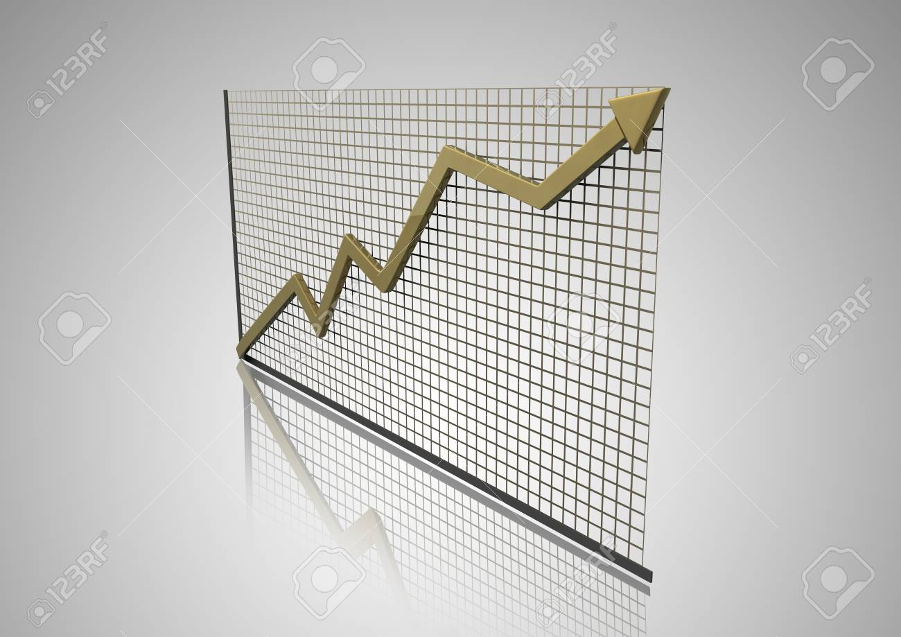 3d graph with arrow Stock Photo - 8219452