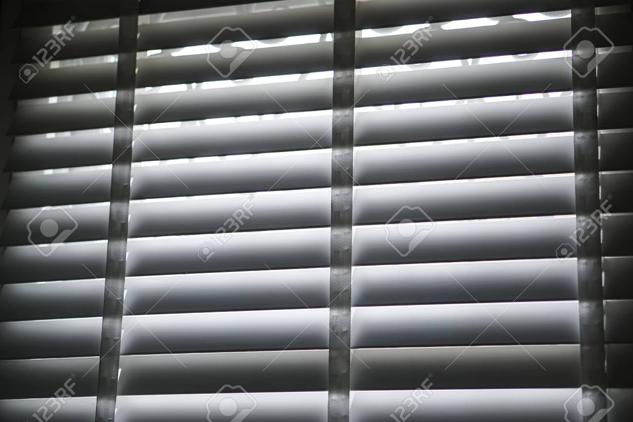 White Blind Shade Curtain And Shadow Stock Photo Picture And