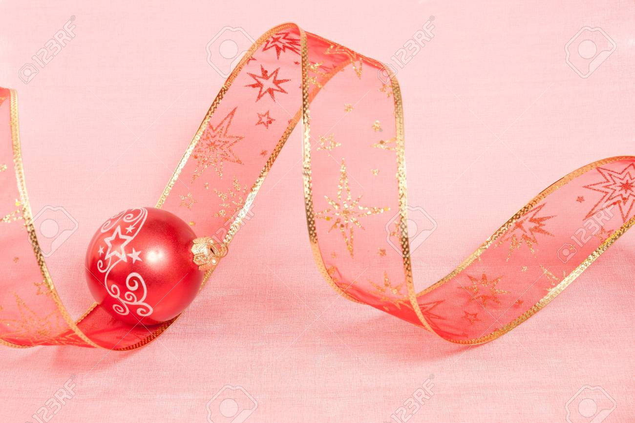 Christmas Decoration on a red  background Stock Photo - 11553416