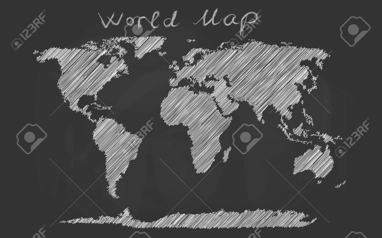 World Map Hand Drawn Chalk Sketch On A Blackboard. Vector ...