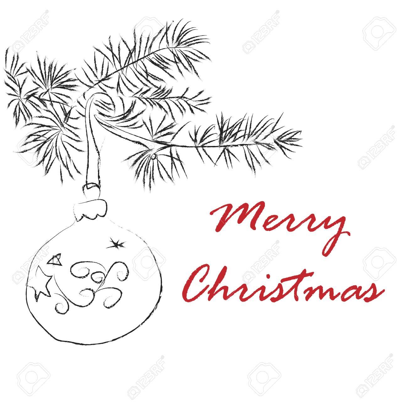 Seasons greetings card with handdrawn christmas ball on a fir seasons greetings card with handdrawn christmas ball on a fir branch card for winter holidays m4hsunfo