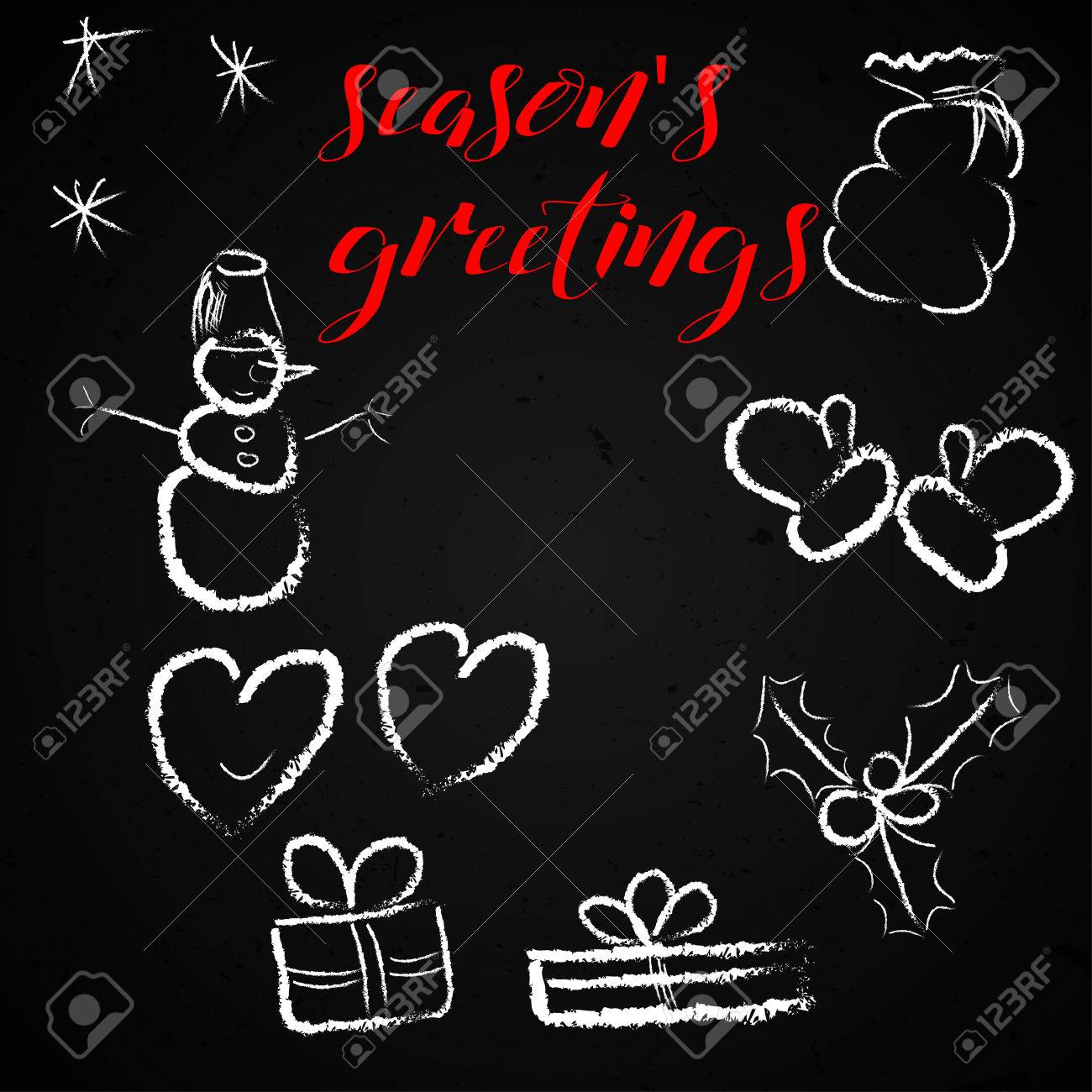 Seasons Greetings Red Text With Hand Drawn Doodles Mittens Snowman