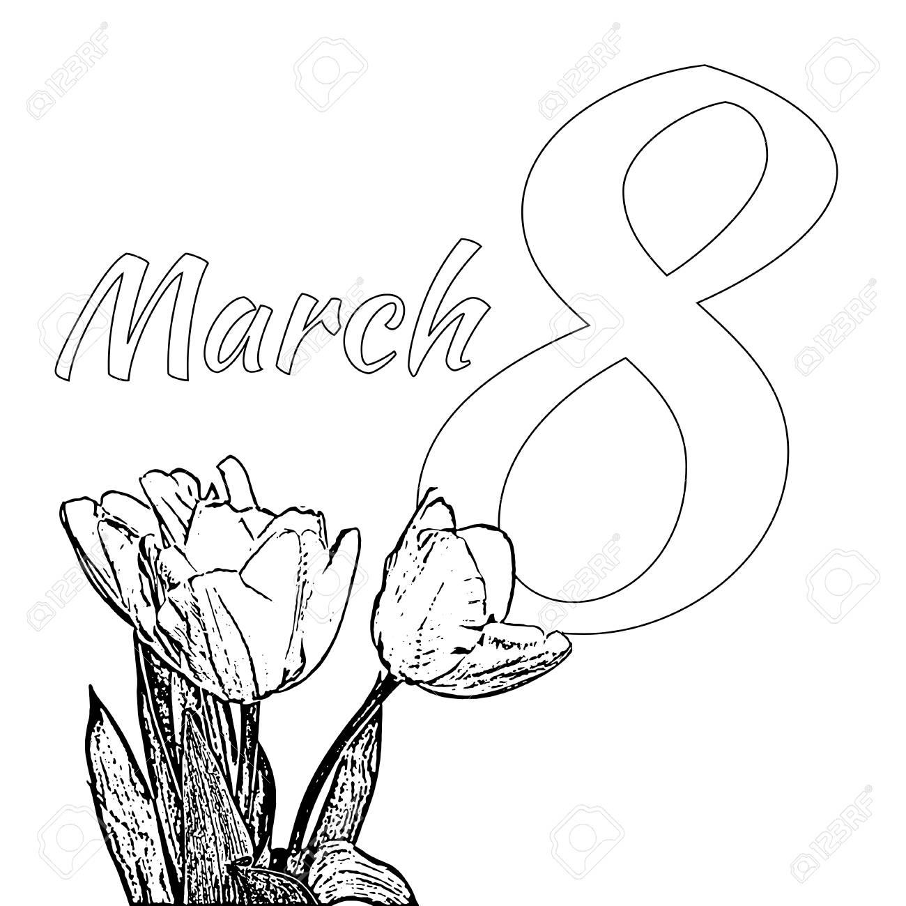 Página Para Colorear Para El Día Internacional De La Mujer Feliz C ...