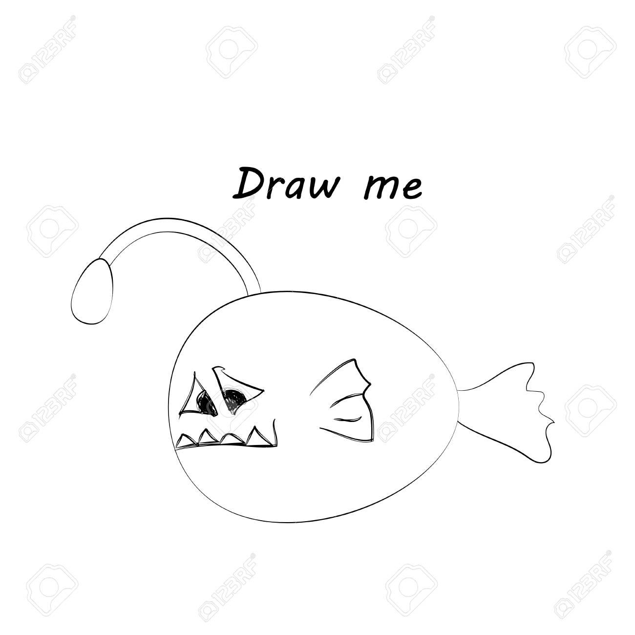Zeichnen Sie Mich Vektor Illustration Von Meerestieren Die Angler Fisch Farbung Spiel Fur Kinder Lizenzfrei Nutzbare Vektorgrafiken Clip Arts Illustrationen Image 76877951