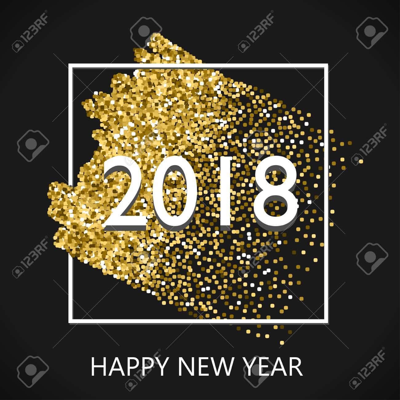 Happy New Year 2018 Gold Design With Glitter Stroke Brush On ...