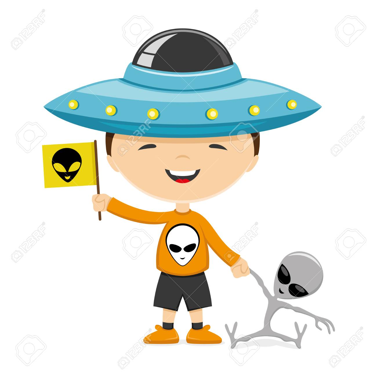 A Child Wearing A Hat In The Form Of A Flying Saucer And With Royalty Free Cliparts Vectors And Stock Illustration Image 50912979