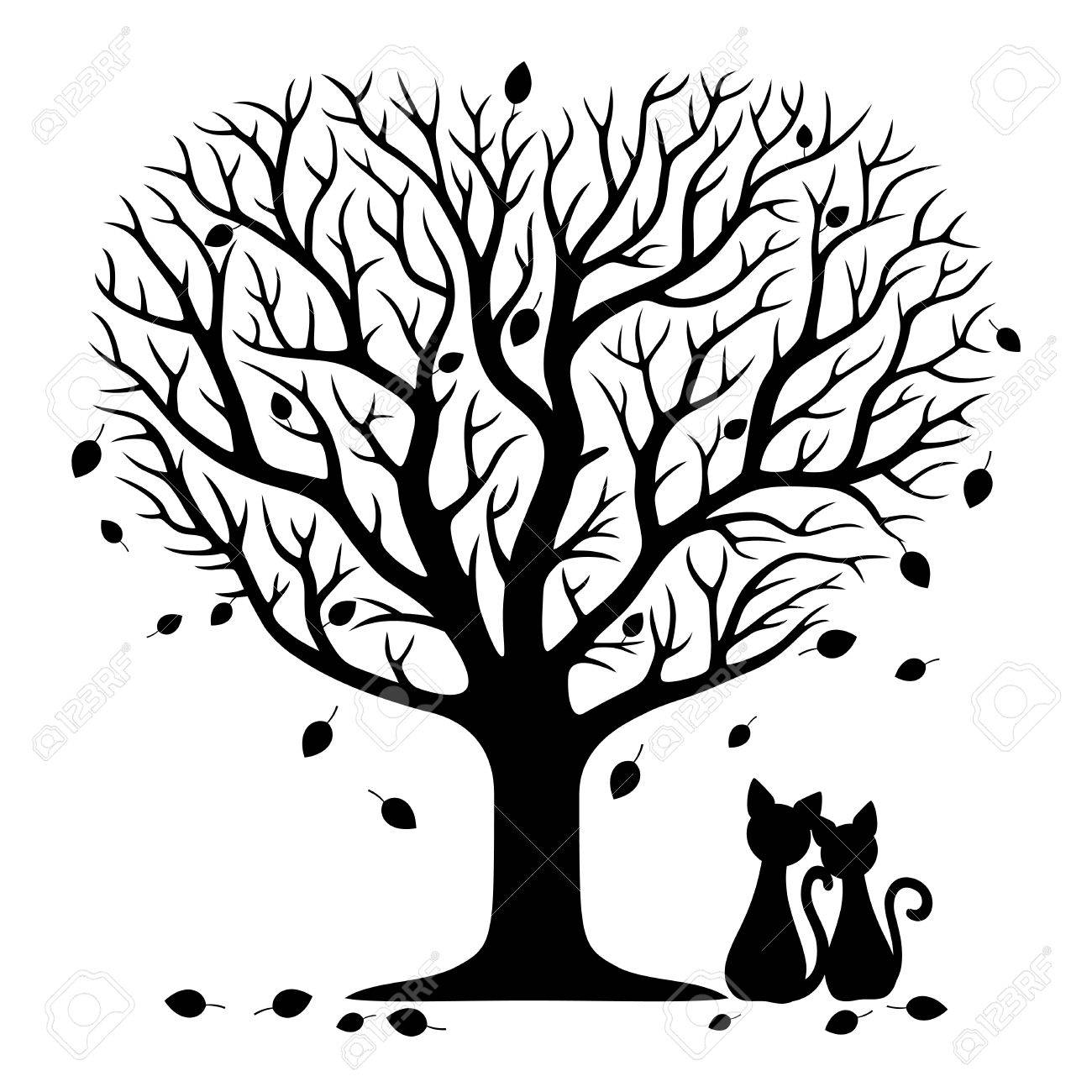 Two Cats Under The Tree Royalty Free Cliparts Vectors And Stock
