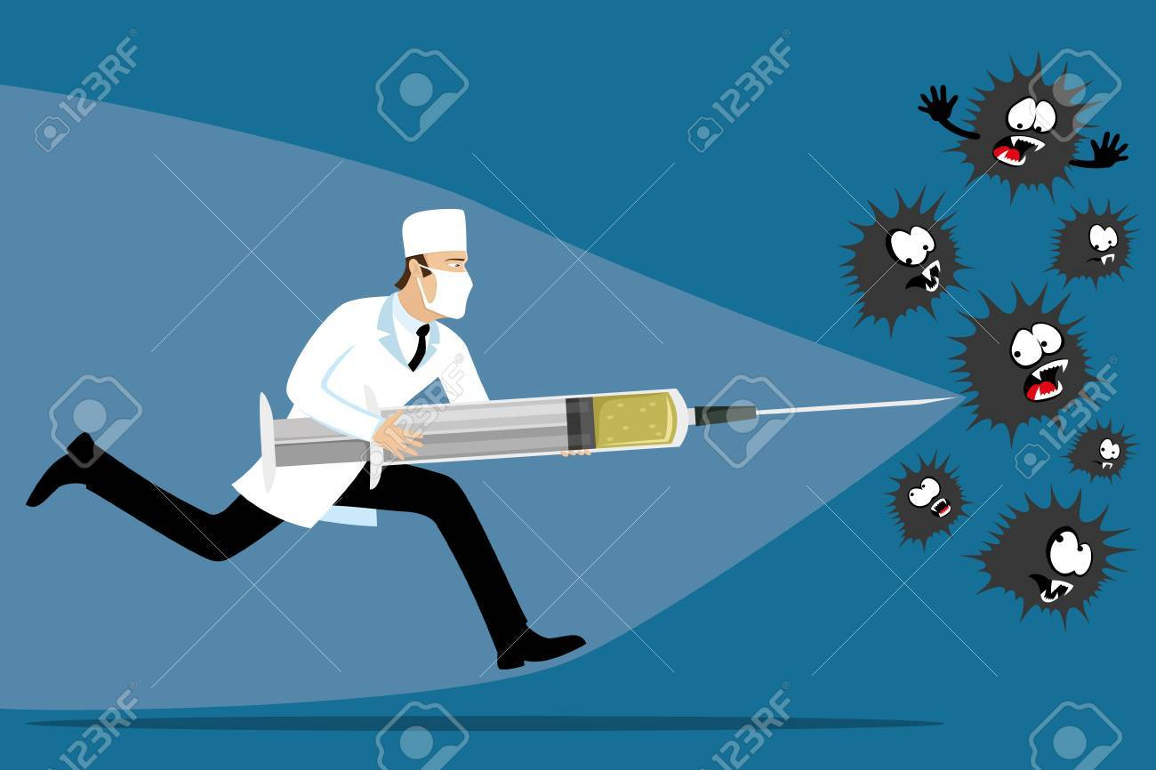 Doctor with a syringe in his hands. - 82338742