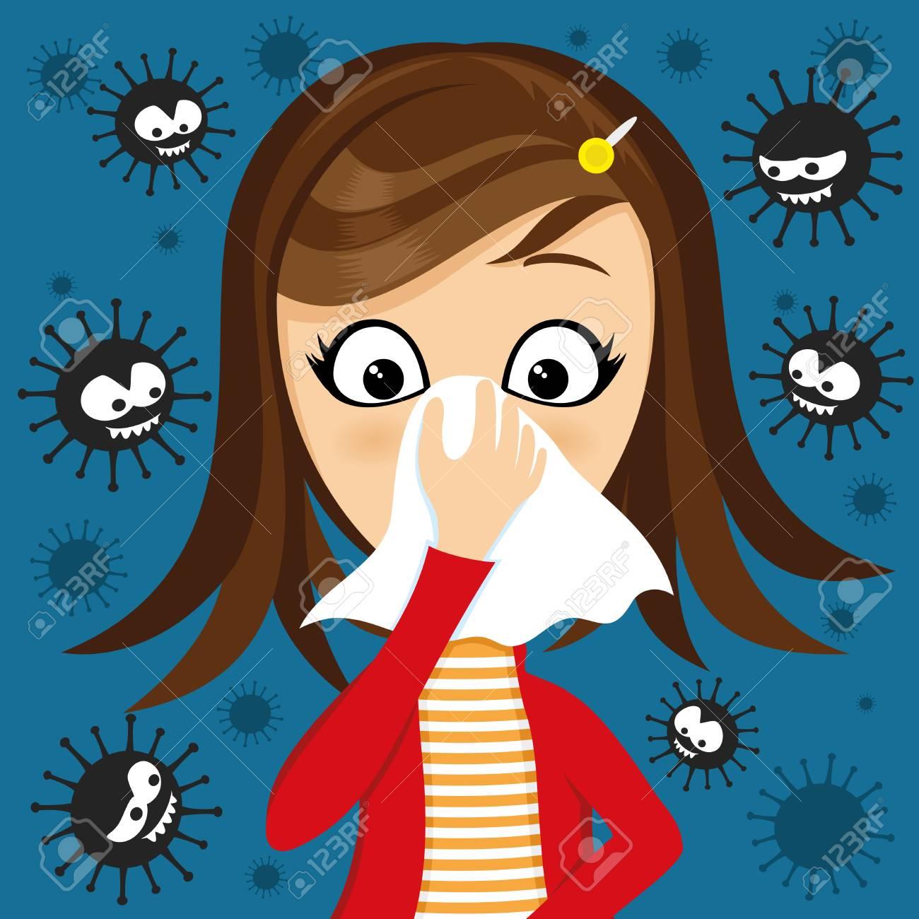 Girl has runny nose and viruses around. - 110687887