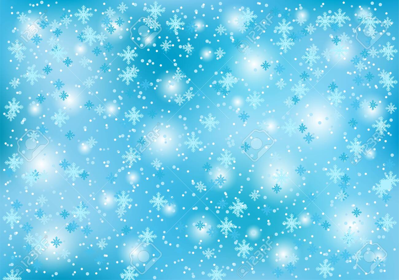 Winter christmas background with snowflakes on a blue background. - 135596684