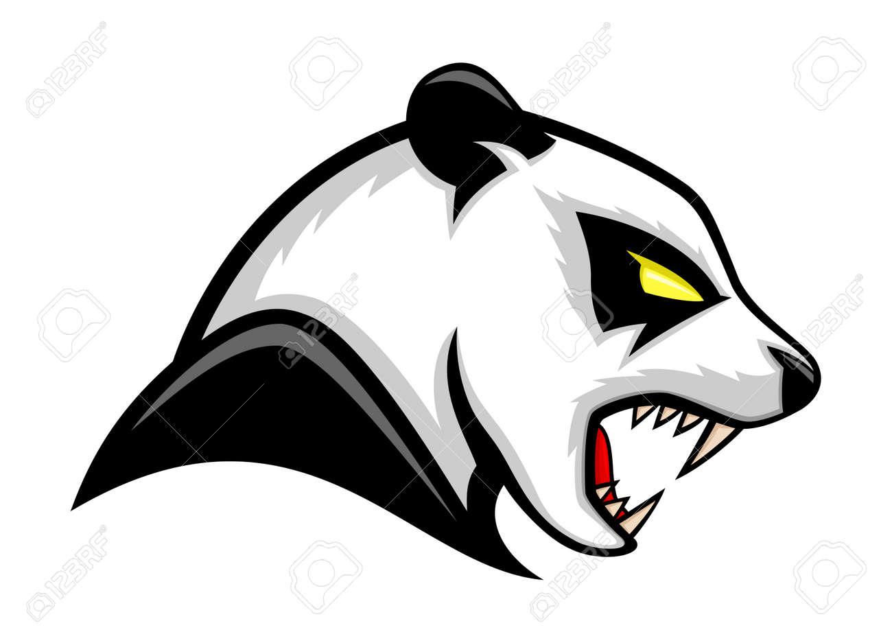 Illustration with panda bear icon isolated on white background. - 164653369