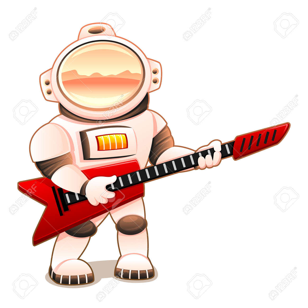 Astronaut with red guitar on white background. - 165135917