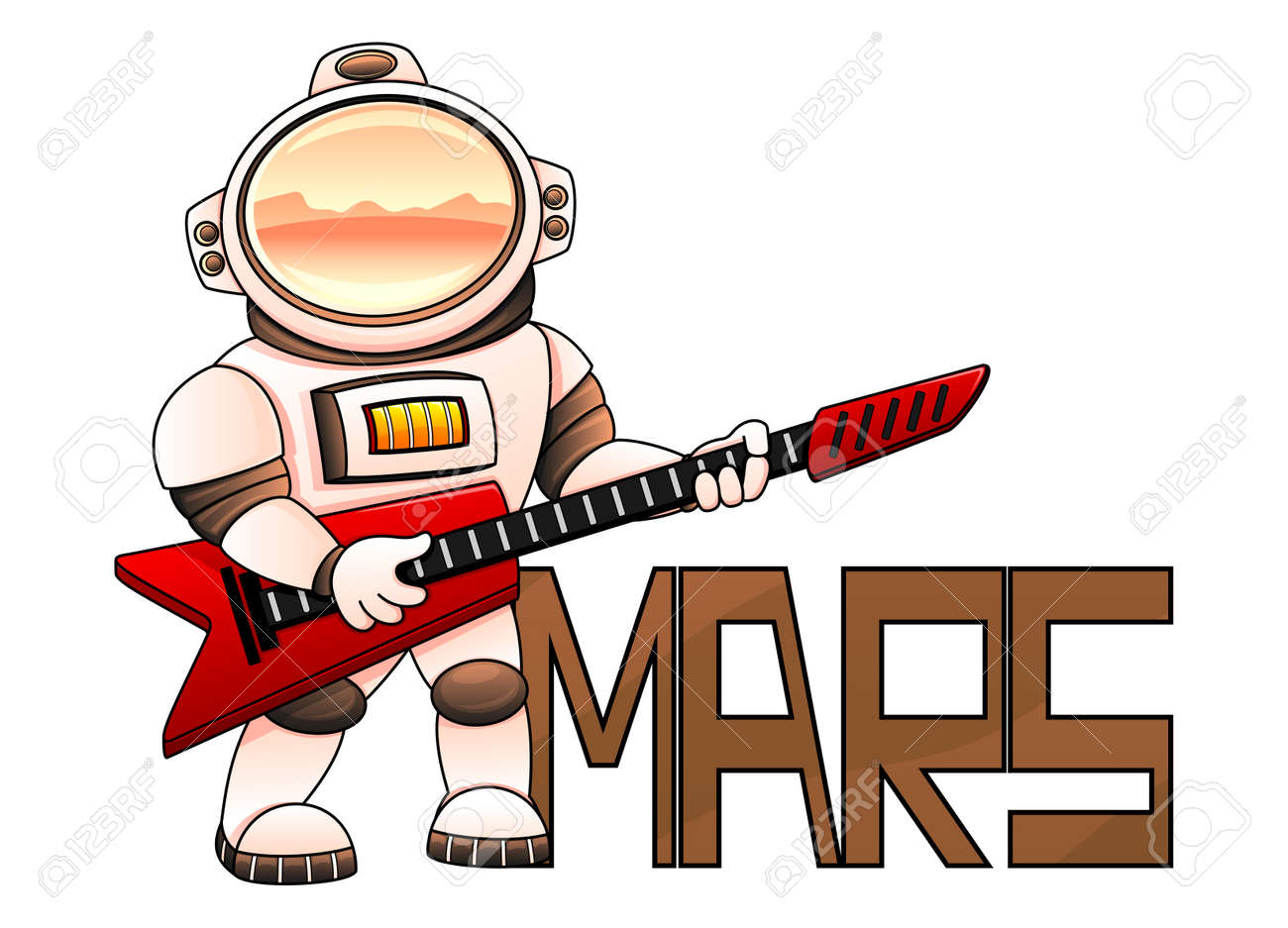 Astronaut with red guitar on white background. - 165358774