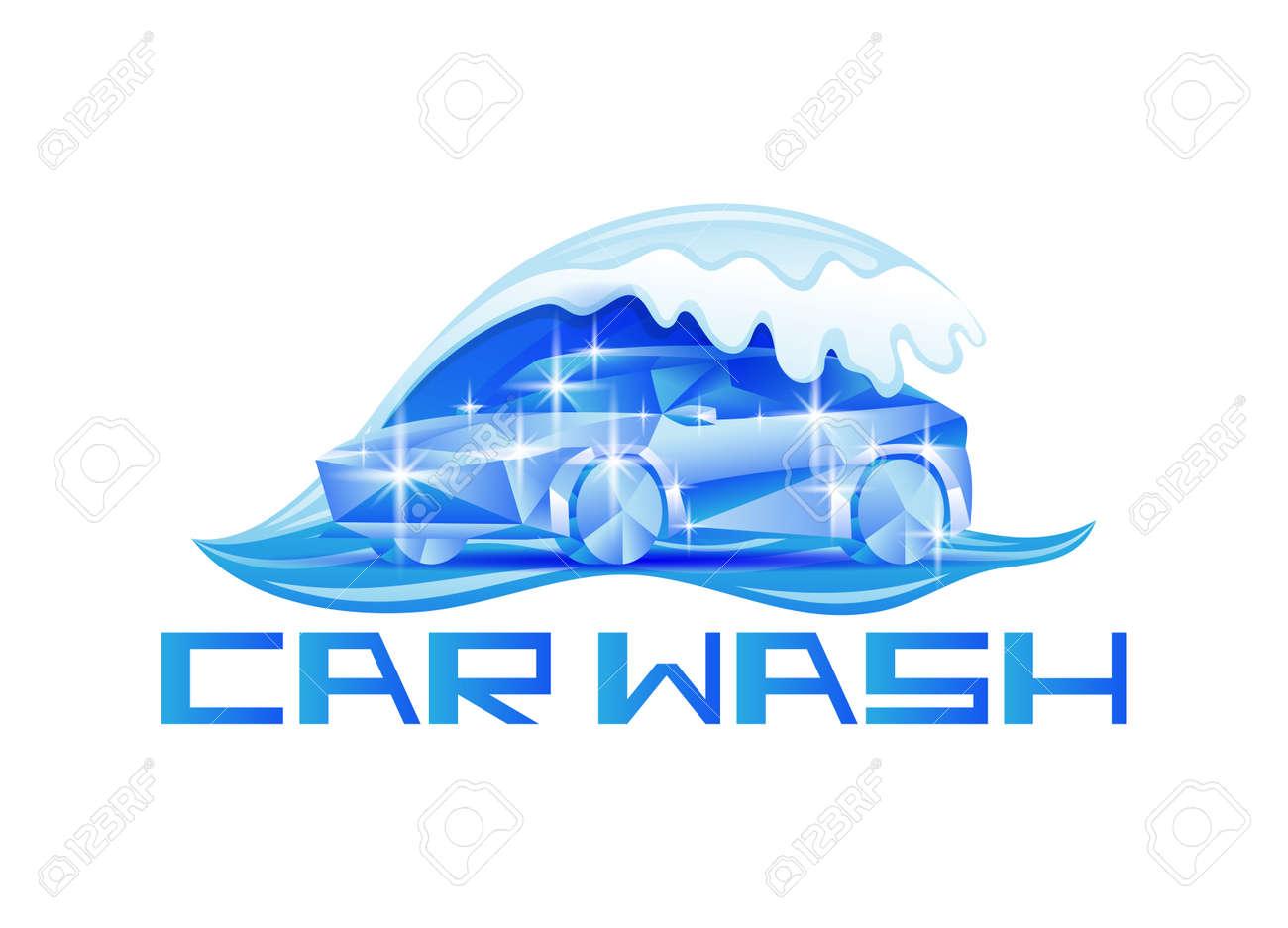 Blue car wash icon on white background. - 165434818
