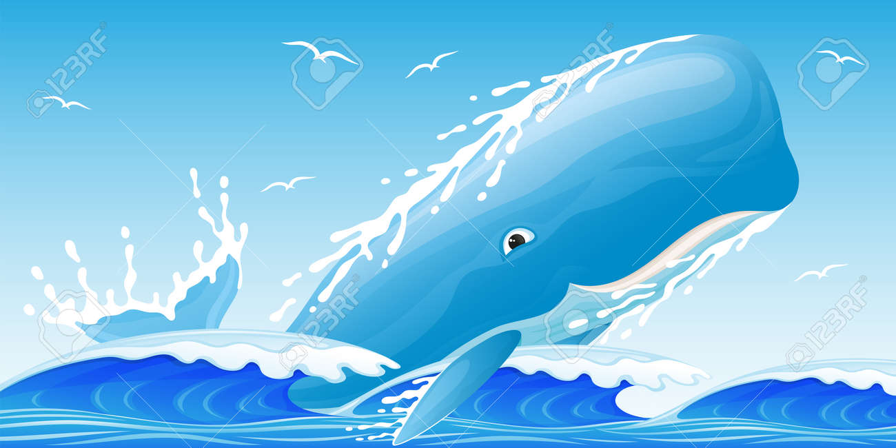 Illustration of a blue whale on the waves in the ocean. - 165558566