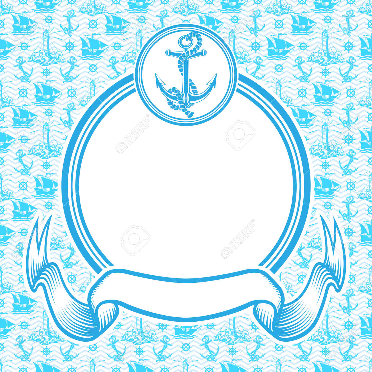 Nautical banner with round blue frame with anchor and ribbon. - 165505872