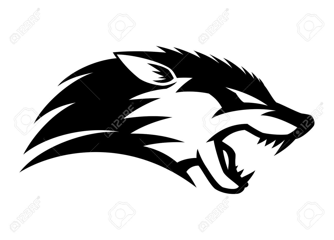 Illustration with angry wolf icon isolated on white background. - 166249580