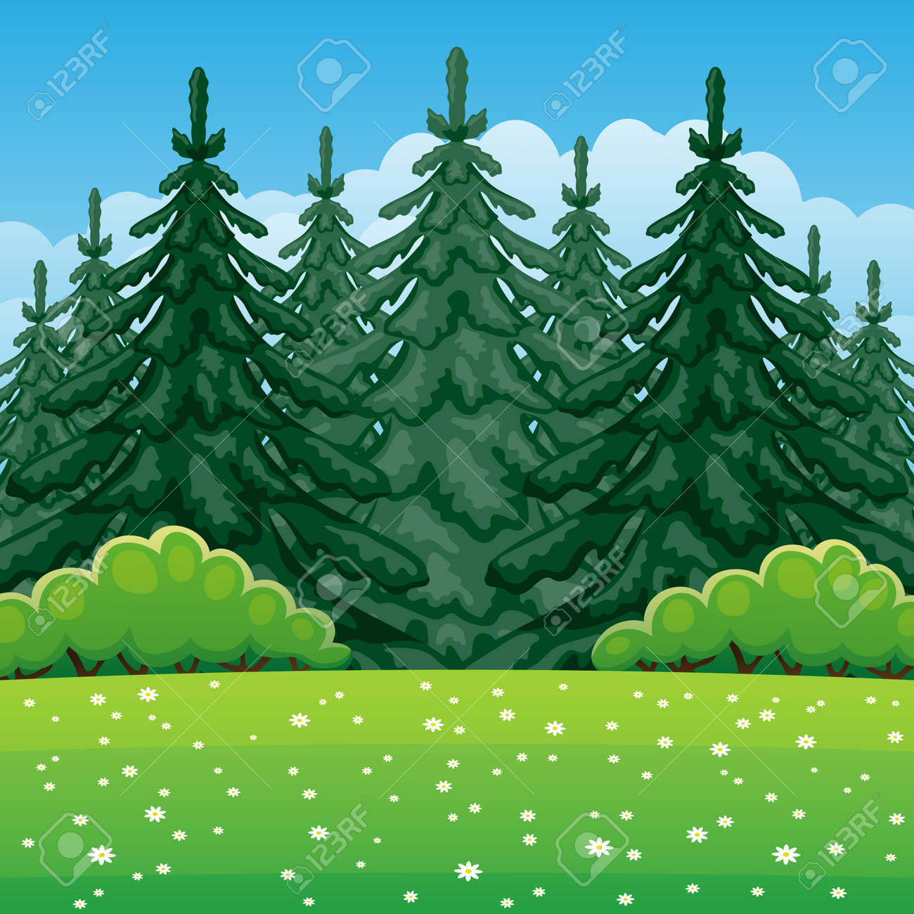 Illustration of summer nature with coniferous forest. - 166512689