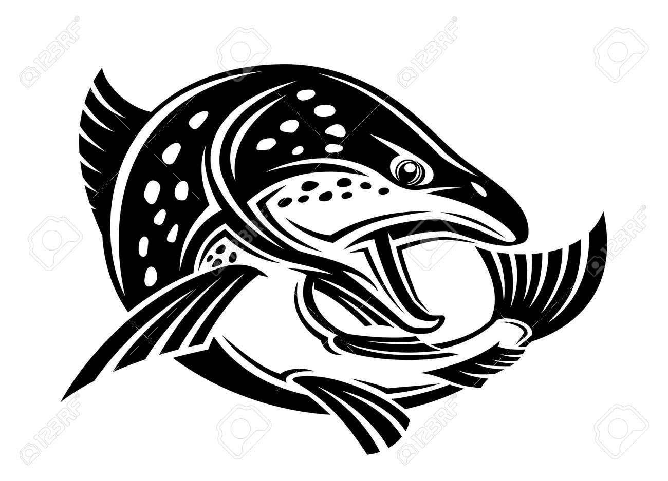 Illustration with fish icon on white background. - 167225278